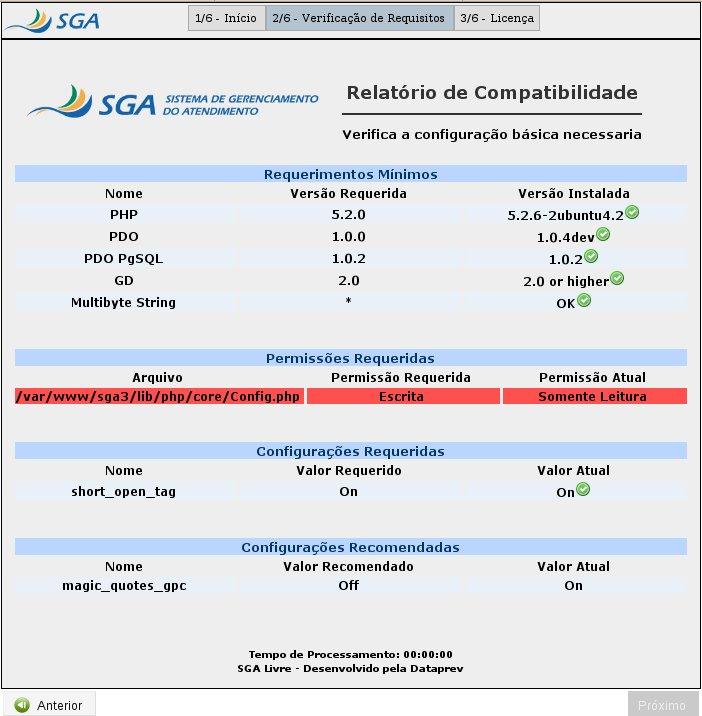 Tela de instalação do SGA